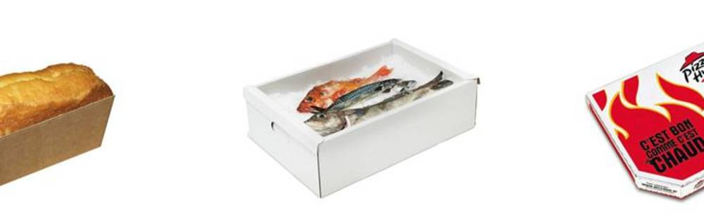 Food contact packaging for cake, pizzas and fish