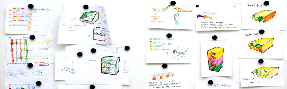 Multiple sketches of innovative corrugated Packaging products