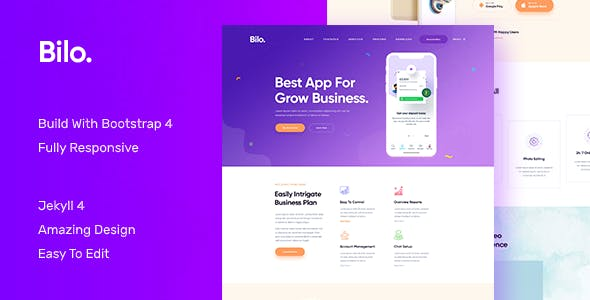 Bilo - App and Software Landing JEKYLL Theme Template