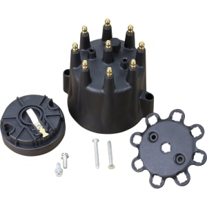 V8 Pro Series Male Termianal Replacent Distributor Cap and Rotor - Black
