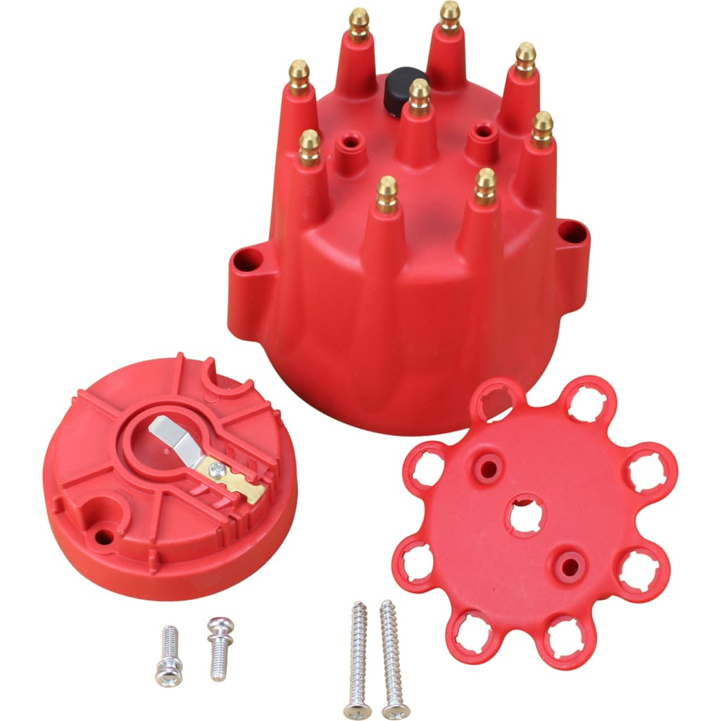 V8 Pro Series Male Termianal Replacent Distributor Cap and Rotor - Red