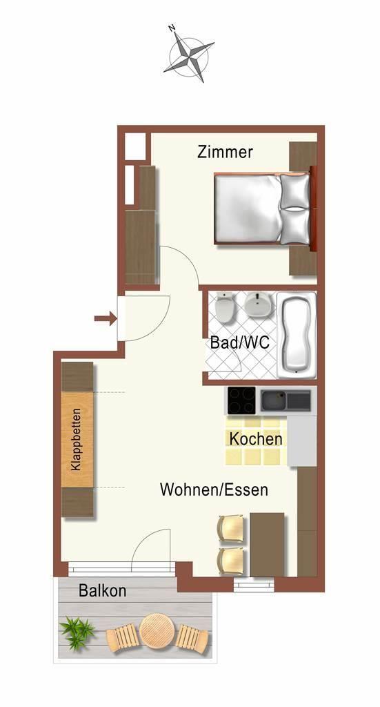 Grundriss 2-Zimmer-Dachwg Ost