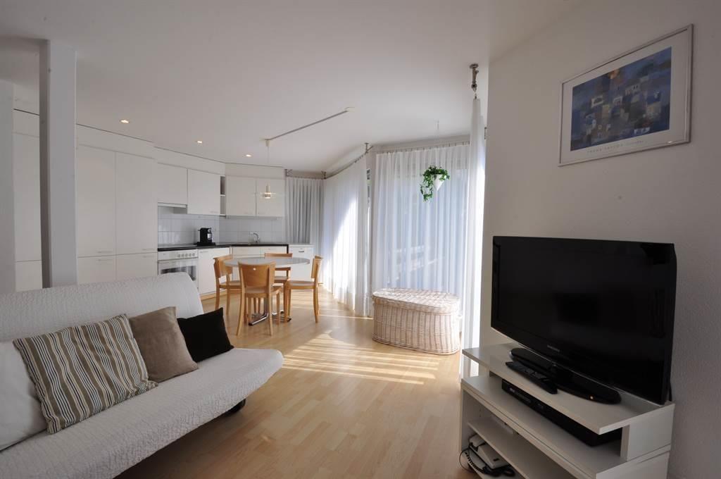 Wohnraum mit Bettsofa und Küchenzeile