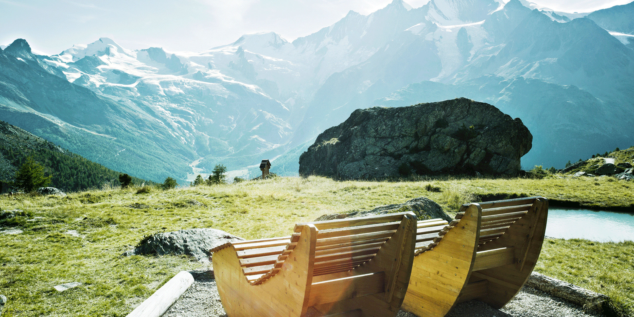 [Translate to English:] Kreuboden Wellness in der Freien Ferienrepublik Saas-Fee