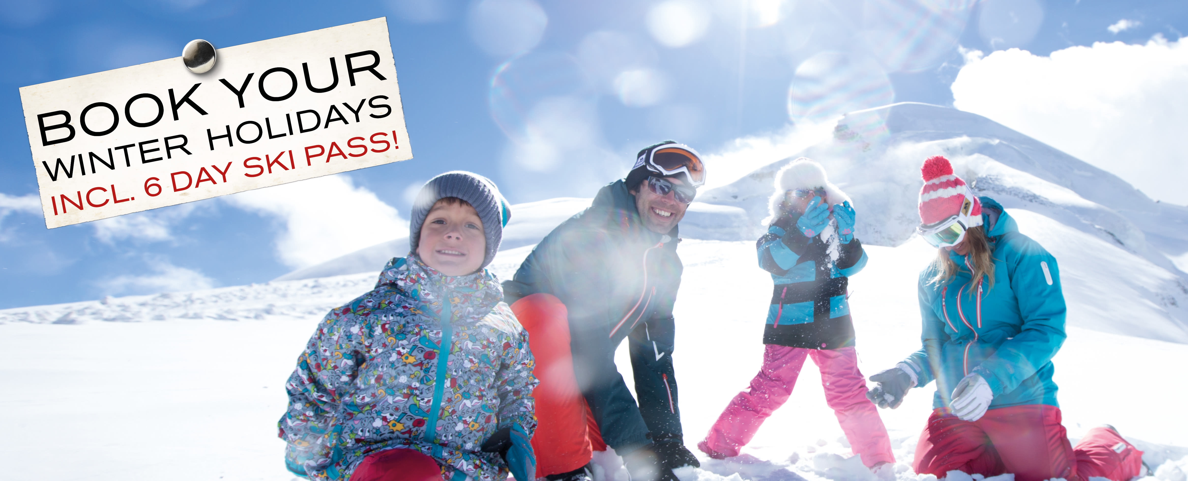 Book your winter holidays incl. 6 day ski pass!