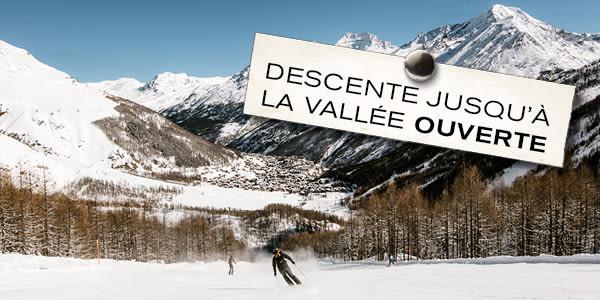 descente jusqu'à la vallée ouverte