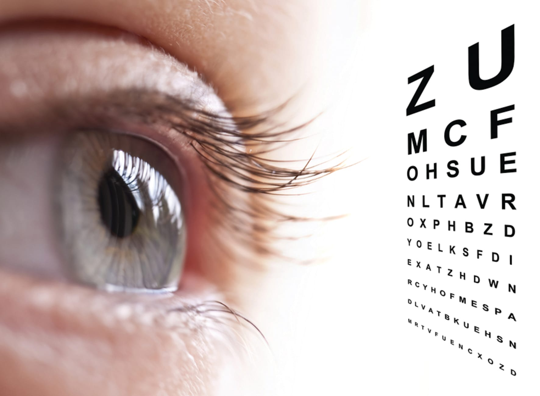 Close up of a person's green eye and long eyelashes looking at the various letters in various sizes of a sight test