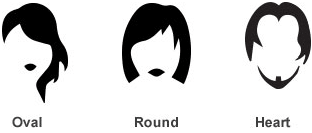 black and white cartoon pictures of face shapes oval, round and heart