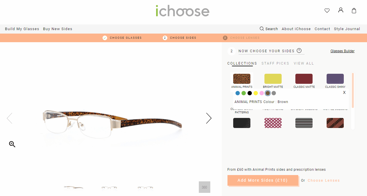 screenshot of ichoose glasses builder showing brown animal print sides to add for £10 extra