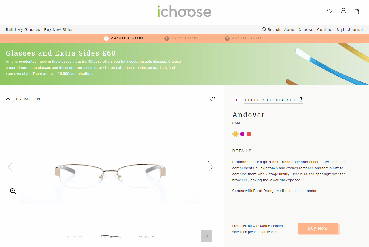 screenshot of ichoose product page showing andover gold frame with copy and green banner showing sides