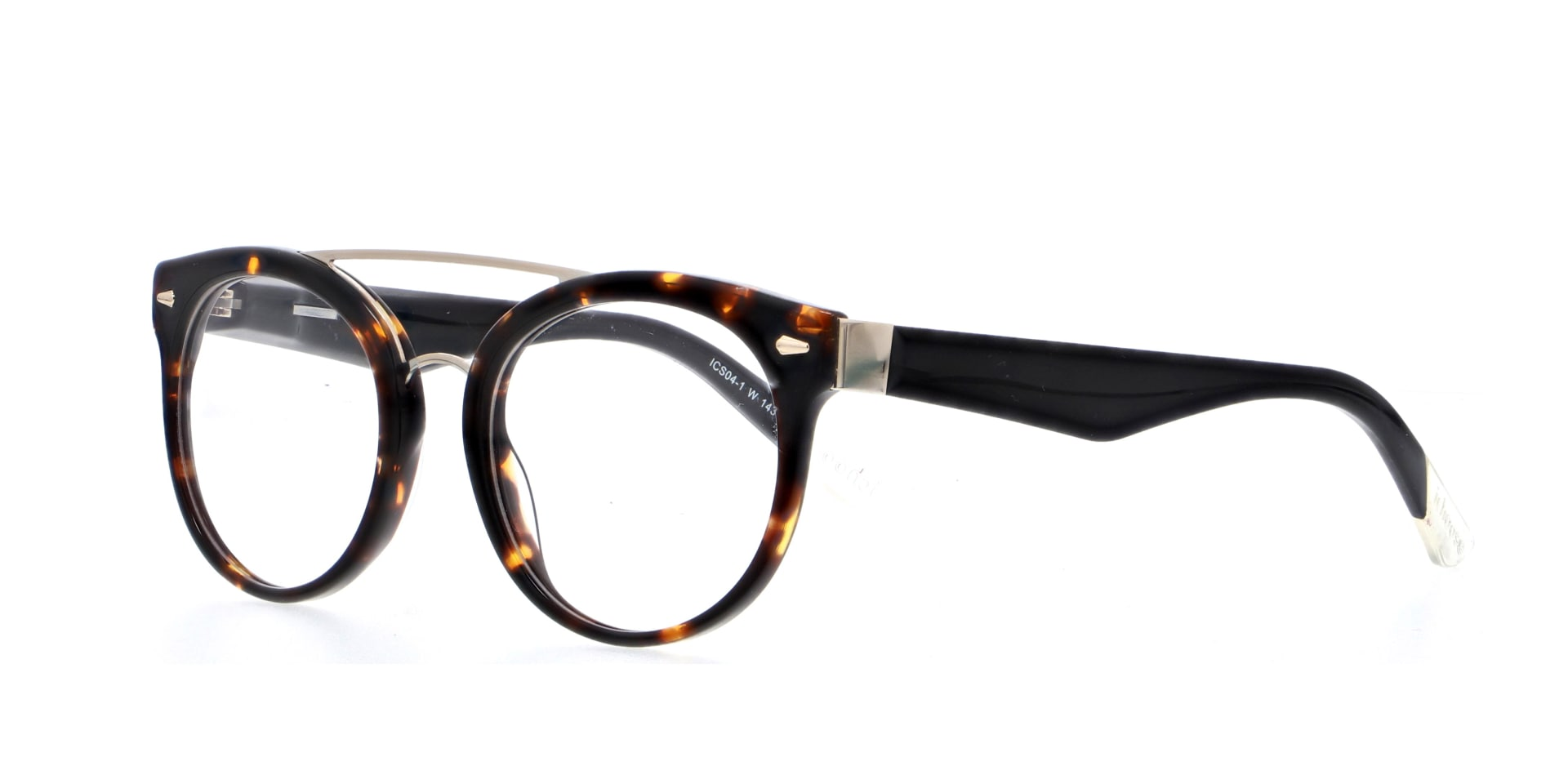 angled picture of double bridged, round, acetate Guildford Tortoiseshell ichoose glasses