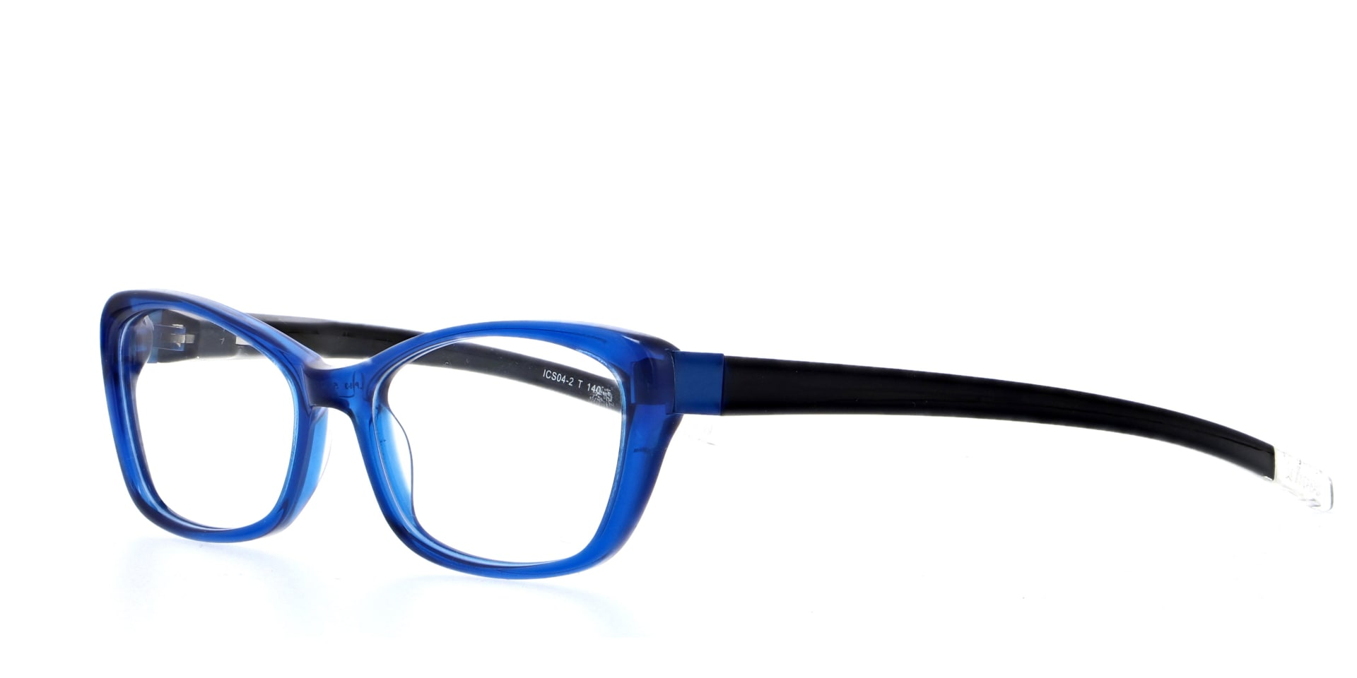 angled picture of acetate Halifax Blue cat eye ichoose glasses