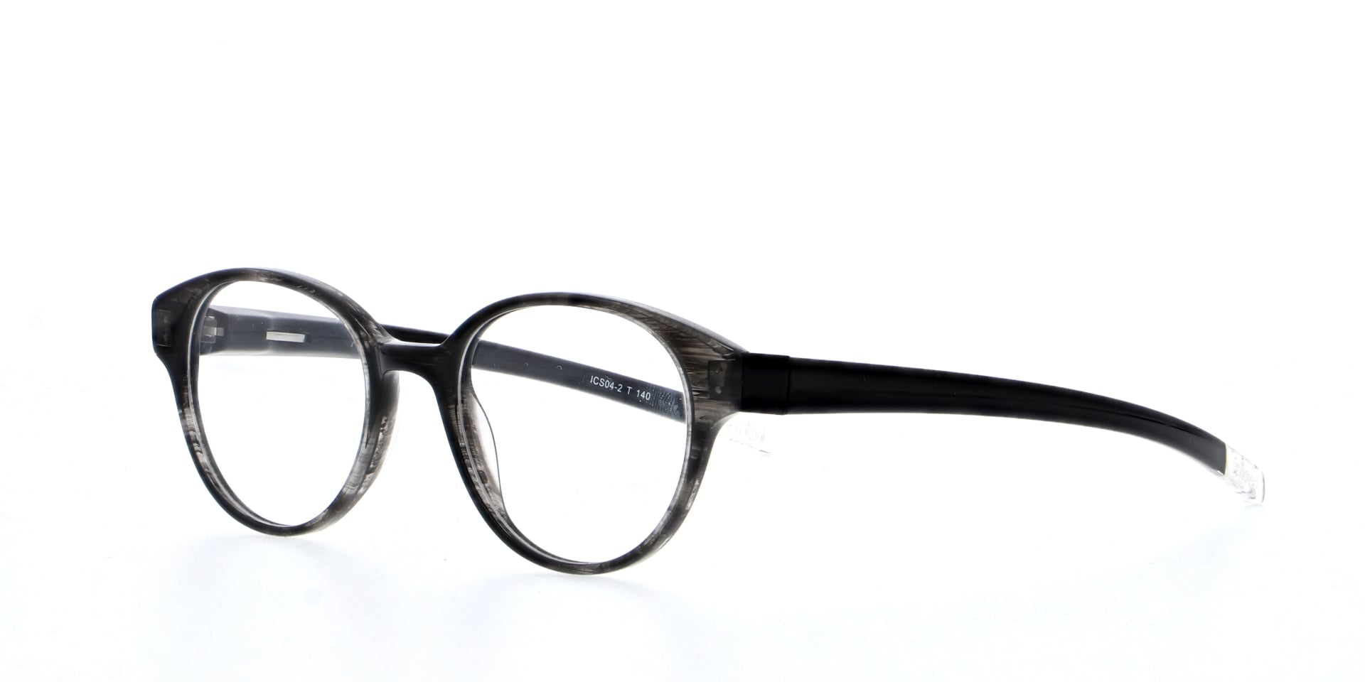 angled picture of acetate and oval Woodley Grey ichoose glasses