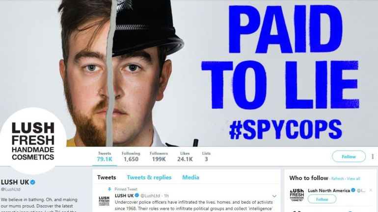 Lush's Twitter profile showing their SpyCops Campaign