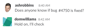 A question posted in Slack