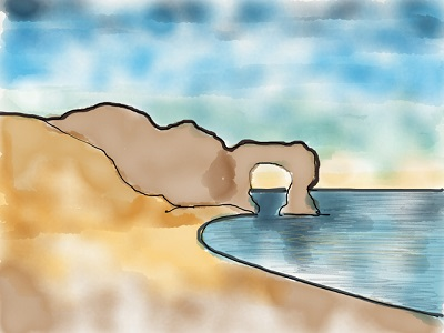 A storyboard image of Durdle Door