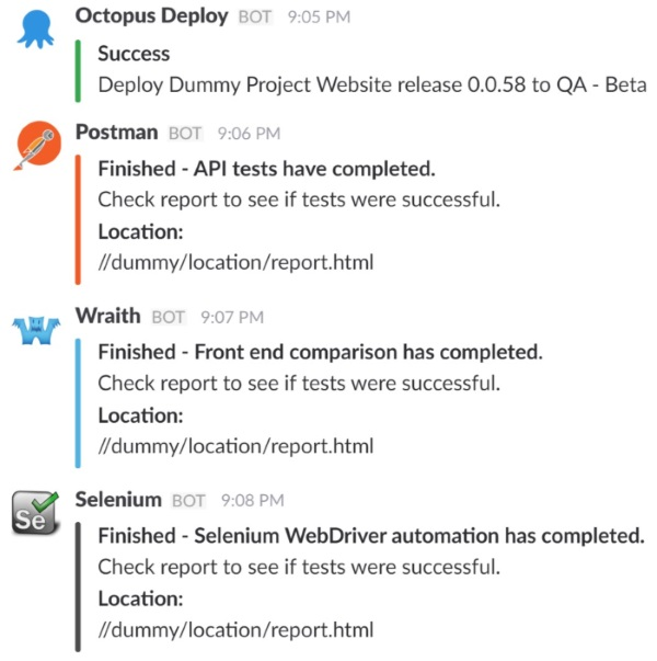 A screenshot of a Slack conversation with various automated testing chatbots