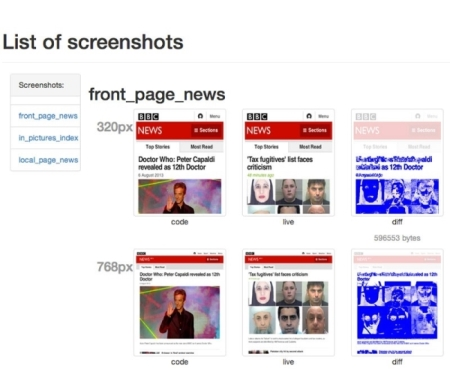 A screenshot of a report from Wraith showing how web pages of BBC News appear at 320 pixels and 768 pixels