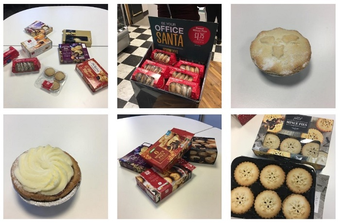 Various images of mince pies on Instagram