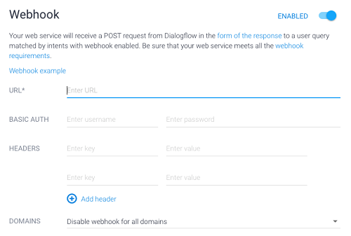 A screenshot of a form for a webhook for Dialogflow