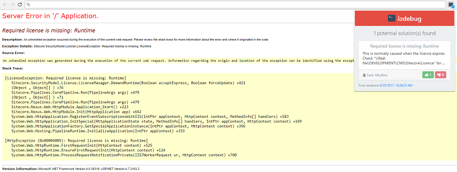 A screenshot of a server error