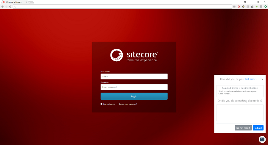 A screenshot of the Sitecore CMS login page