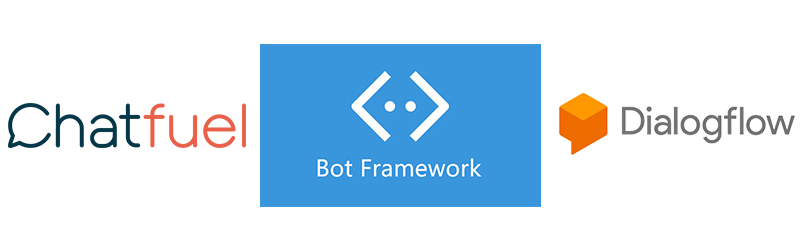 An image of the Chatfuel, Bot Framework and Dialogflow logos