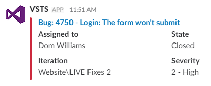 Information returned from the VSTS bot