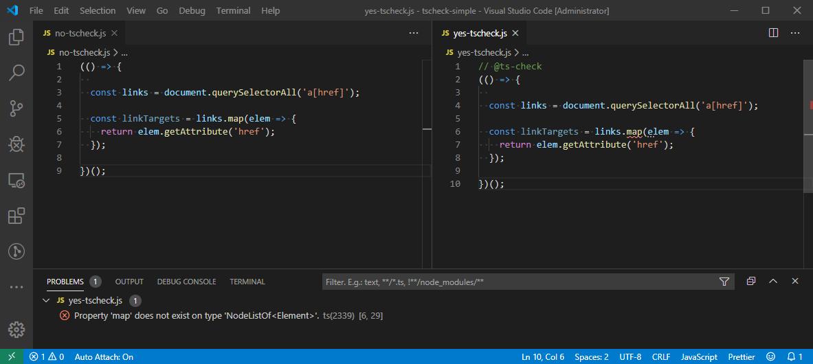 Visual Studio Code - Regular JS vs TS-Check On for Type Checking