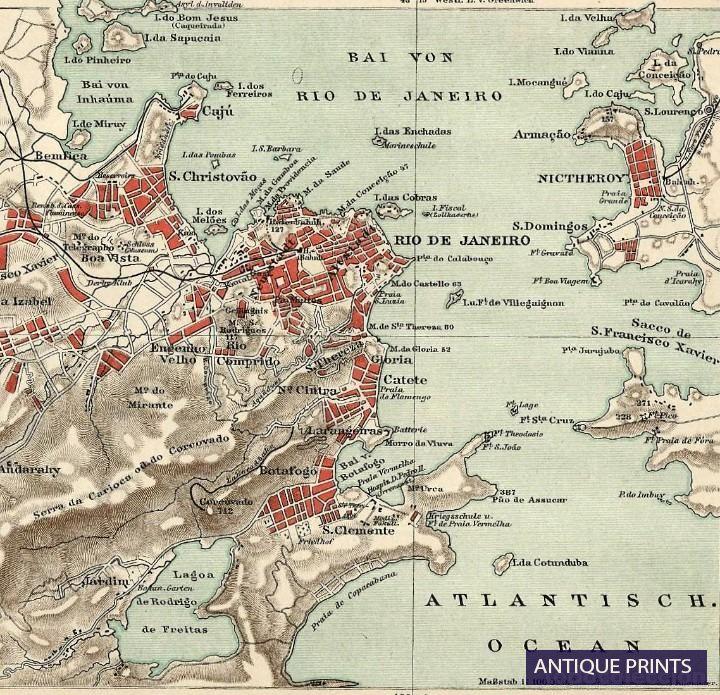 1890 Landkarte Original Rio De Janeiro Und Umgebung