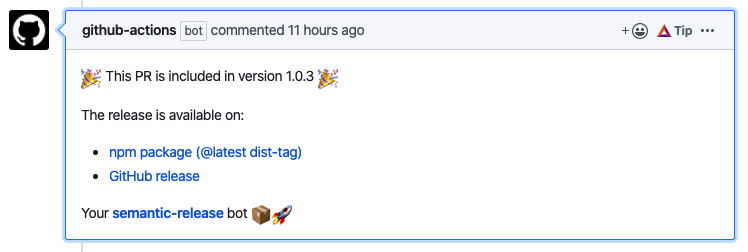 screenshot of github action comment by bot