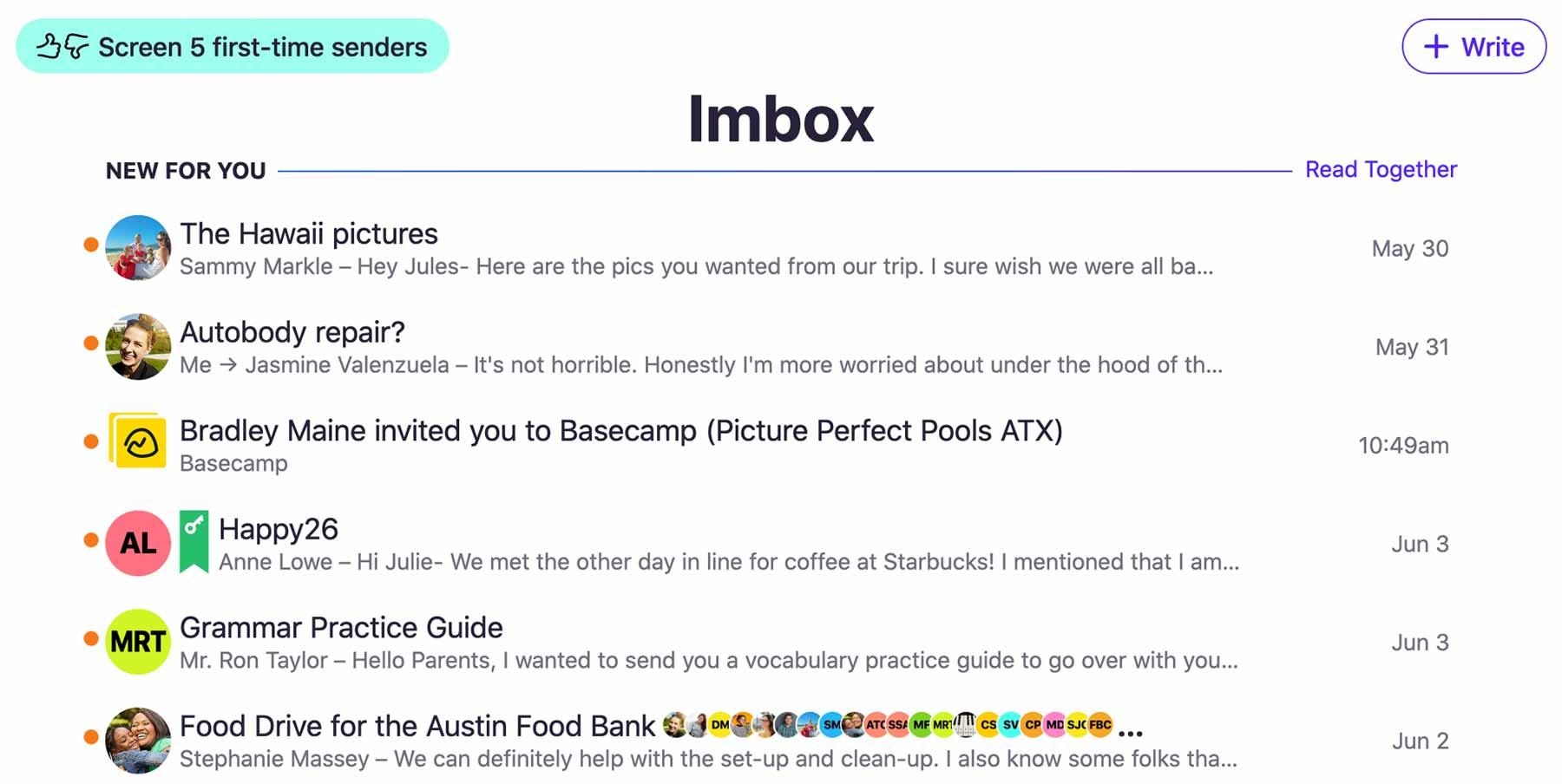 HEY email app screenshot