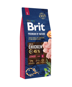 hrana caini brit premium junior l by nature 15 kg