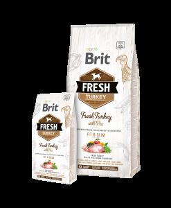 hrana uscata caini brit fresh fit and slim curcan si mazare