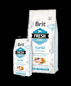 hrana caini brit fresh cu peste si dovleac pentru caini adulti de talie mare