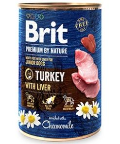 conserva pentru caini brit premium by nature curcan si ficat 400 gr