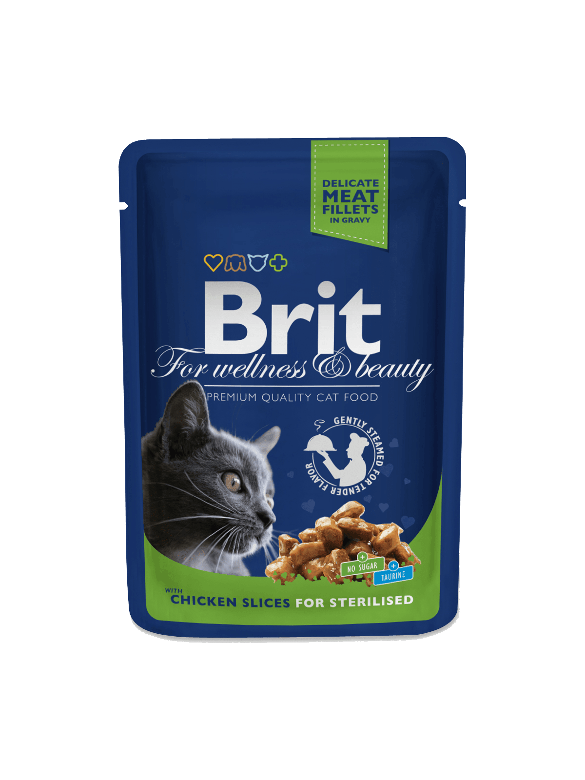 mancare umeda pisici Brit Premium Sterilized Cat cu carne de pui
