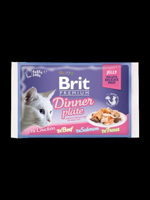 hrana umeda pisic brit premium dinner plate in jelly 85 gr x 4