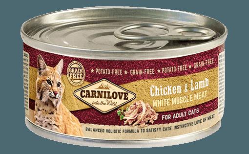 hrana umeda conserve carnilove pentru pisici adulti cu pui si miel