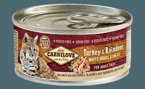 hrana umeda pisici carnilove conserve pentru pisic adulti cu ren si curcan
