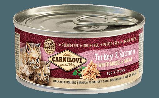 conserve carnilove pentru pisici juniori cu somon si curcan