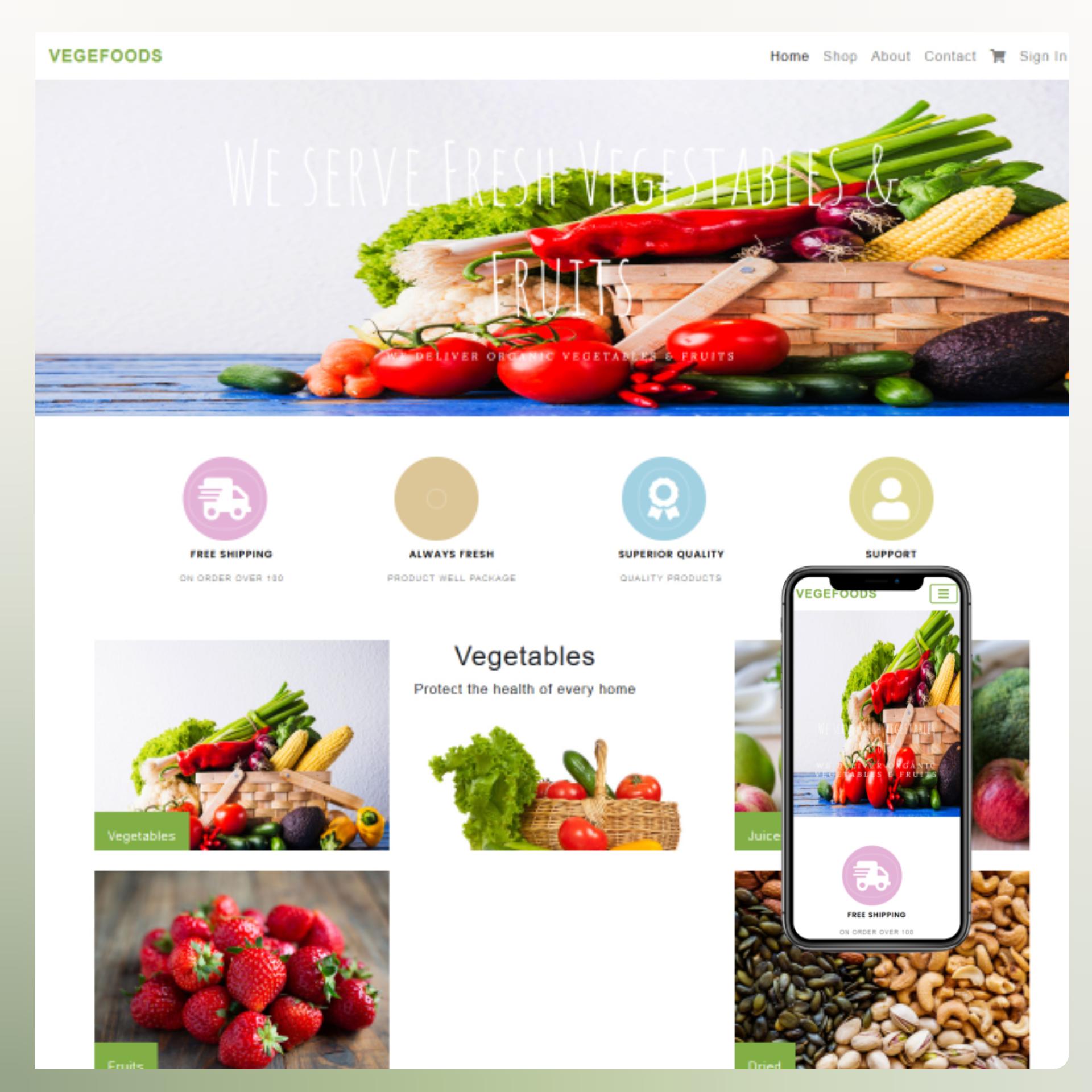 Vegefoods website