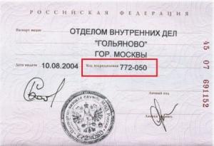 Что из себя представляет код подразделения в паспорте в 2019 году