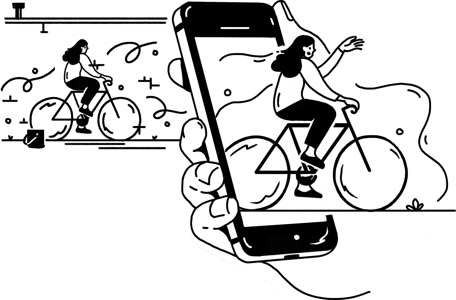 hand drawn line icon of a bicycle rider coming out of a phone to represent augmented reality