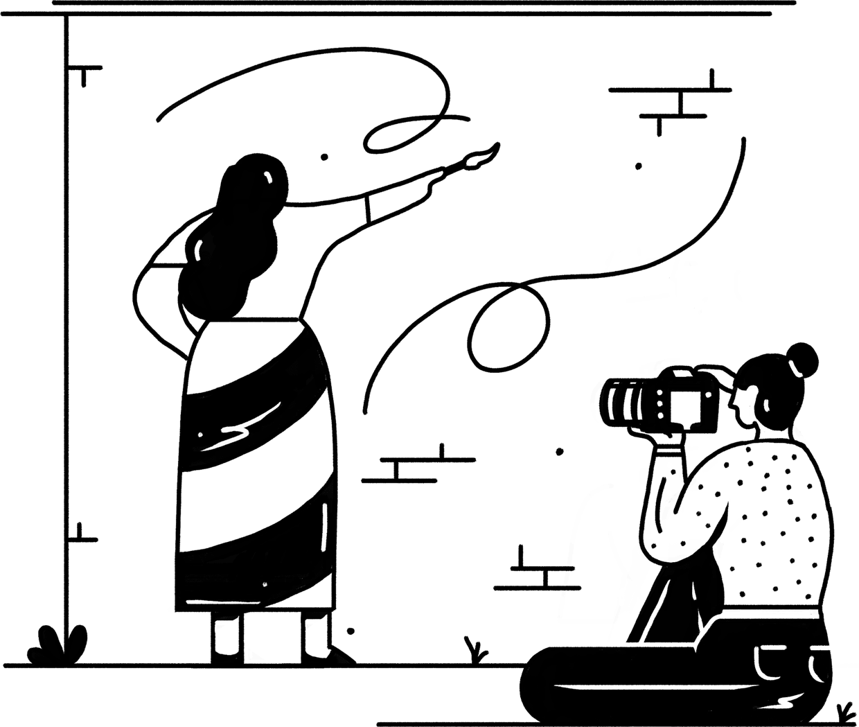 hand drawn line icon of artist painting a mural while a photographer takes a picture of her working