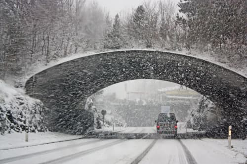 snowfall on bridge