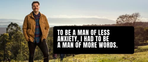 Man next to anxiety quote