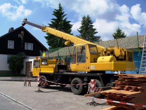 Mobile crane parked
