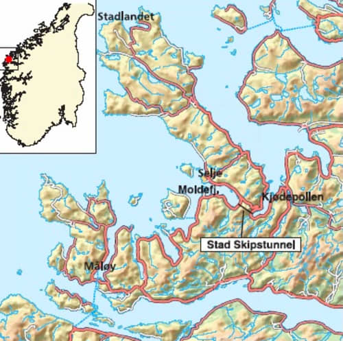Map of Norway and where the Stad Ship Tunnel will be built