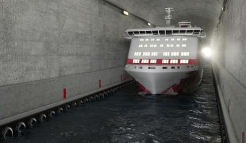 A computer rendering of s ship going through the stad ship tunnel